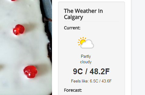 Current weather displayed on calgarycookingmom.ca