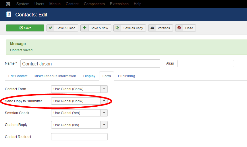 Setting The Send A Copy To Submitter Email Option In the Components Section