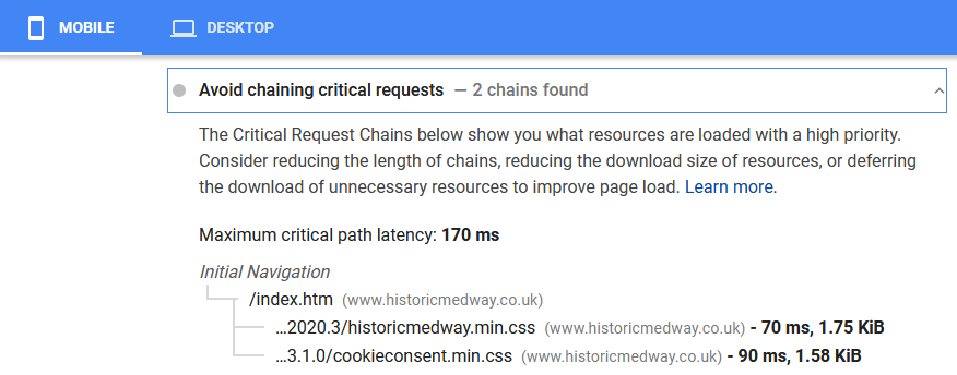 Google Analytics Avoid Chaining Critical Requests